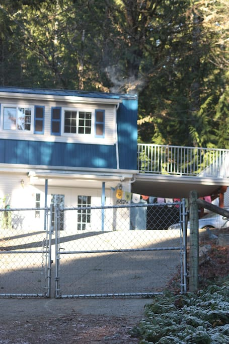 The deck, accessed by outside stairs and upstairs guestsuite