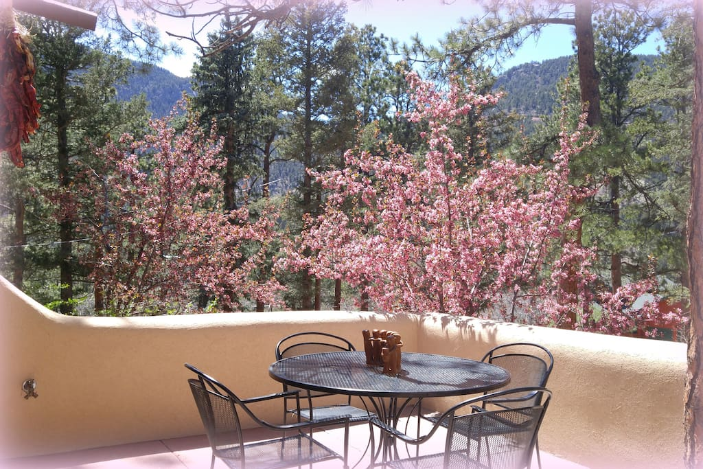 Enjoy peaceful mountain views from the inn's front courtyard patio.