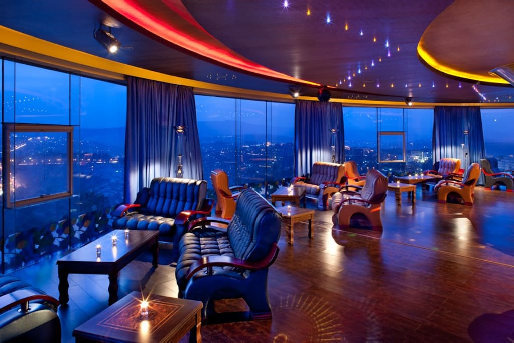360 degree view of Kigali City from 8th floor Crystal View bar
