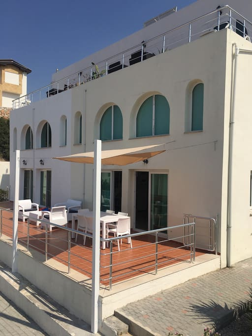 Another view of the terrace. You can also see over to the swimming pool
