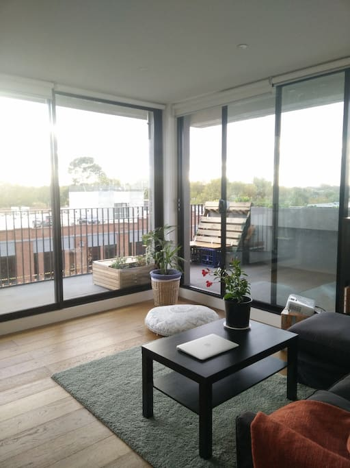 Open bright space with a view over Collingwood and Smith street.