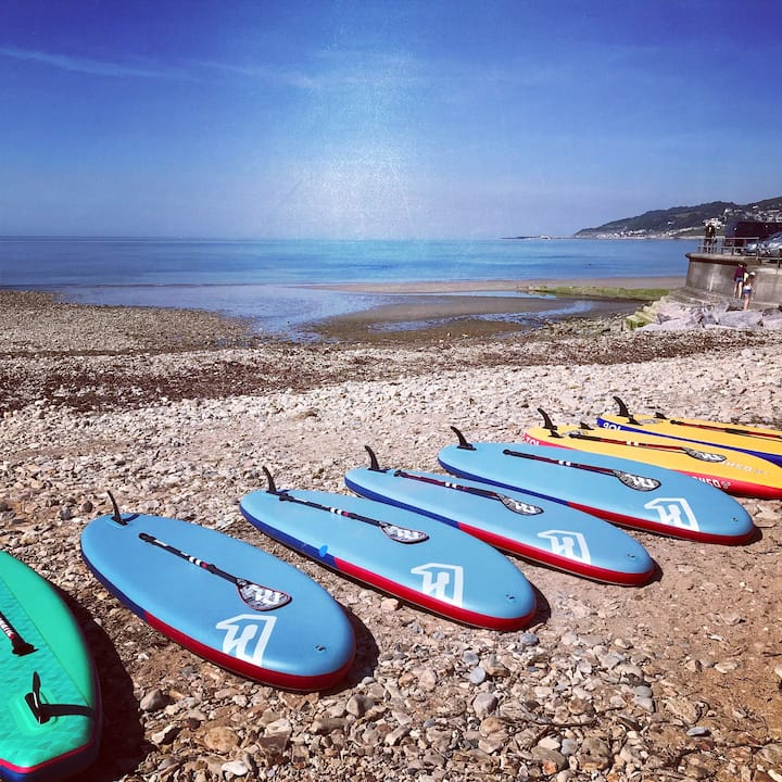 Paddle Boards ready on the beach