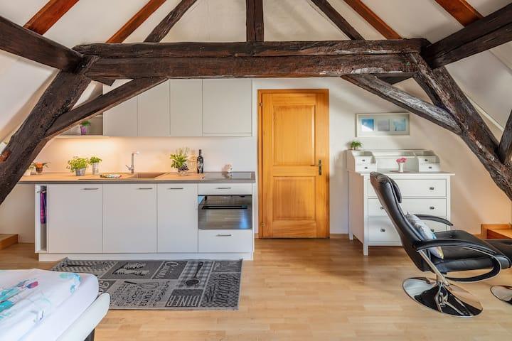 Gemütliche Dachstuhlzimmer in einem Bauernhaus