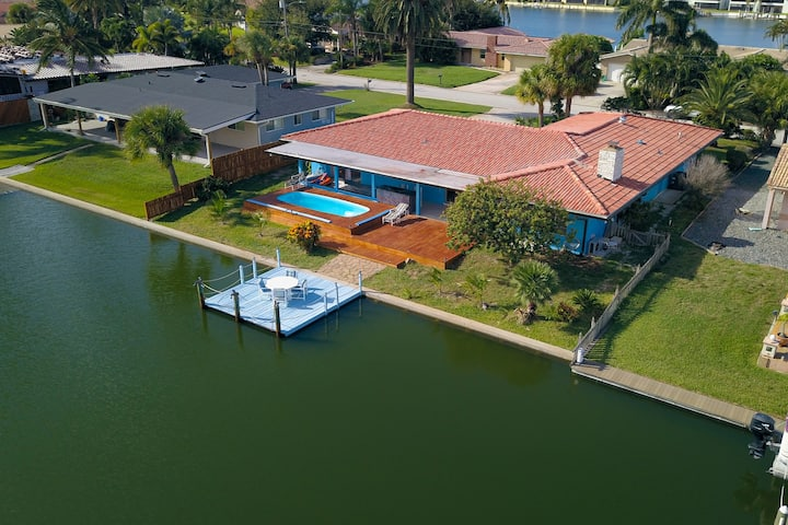 Cocoa Beach canal front heated pool villa