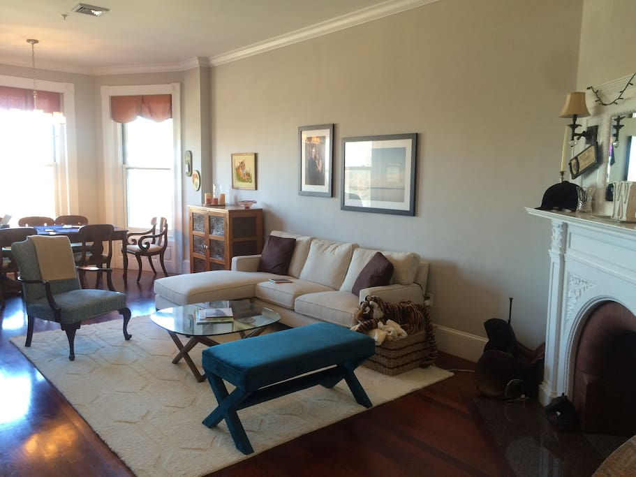 Comfortable, large, and sunny living space with views of the Charles River.