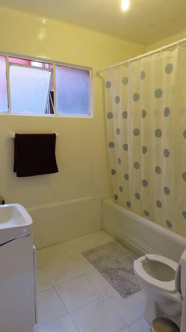 Baño sencillo y muy practico. No le falta nada.