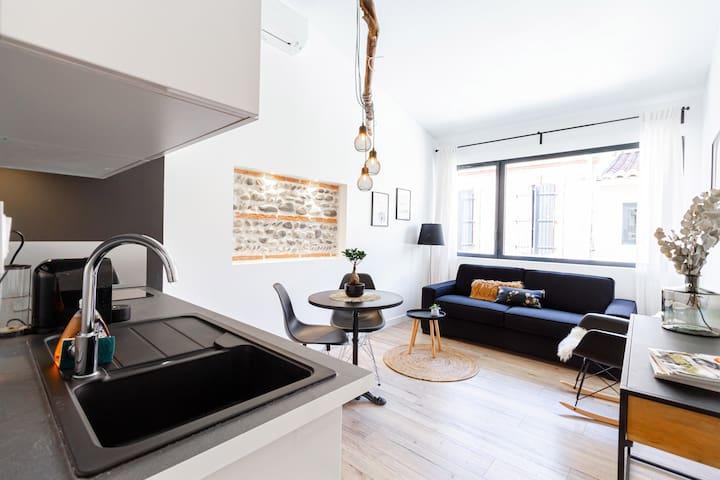 Studio climatisé, terrasse et garage en option