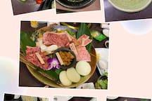 烤肉套餐这是最好的一级的,海带汤特别推荐噢!大盘子沙拉和鸡块是另外点的,套餐里包括烤肉,沙拉,米饭,汤(有鸡蛋汤和鸡蛋汤选),吃完以后可以叫冰淇淋吃噢