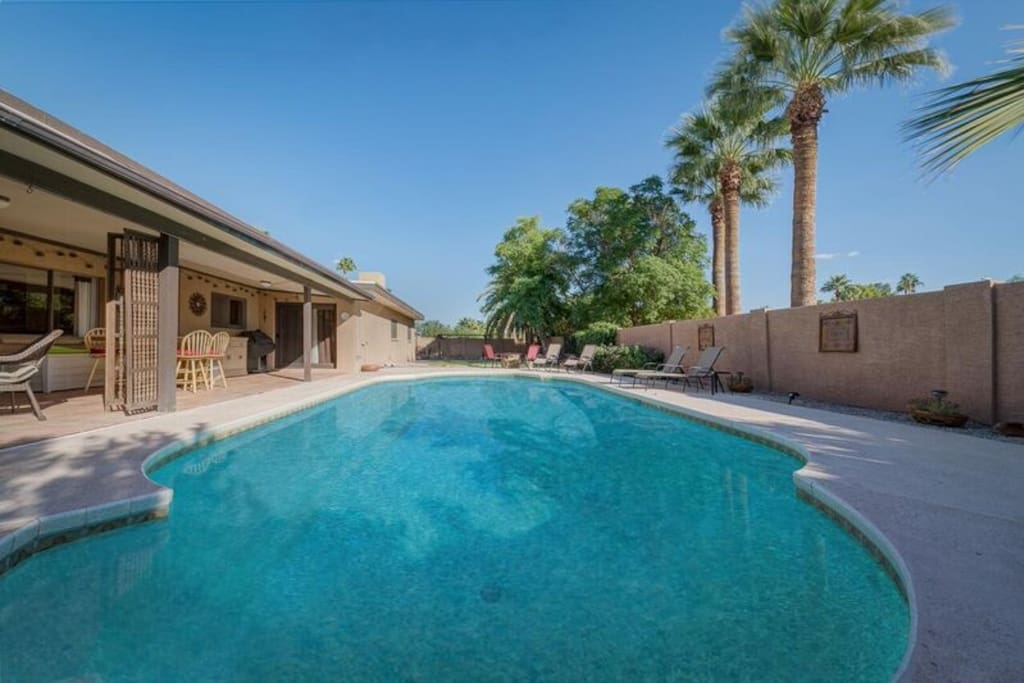 Large yard with heated pool and spa!