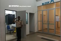 Gated and guarded apartment with 24 hour security services.