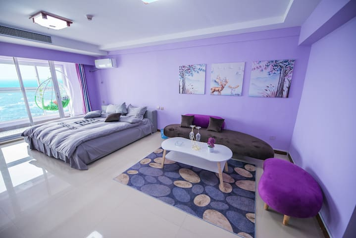烟台金沙滩3~4人海景简约风格大床房