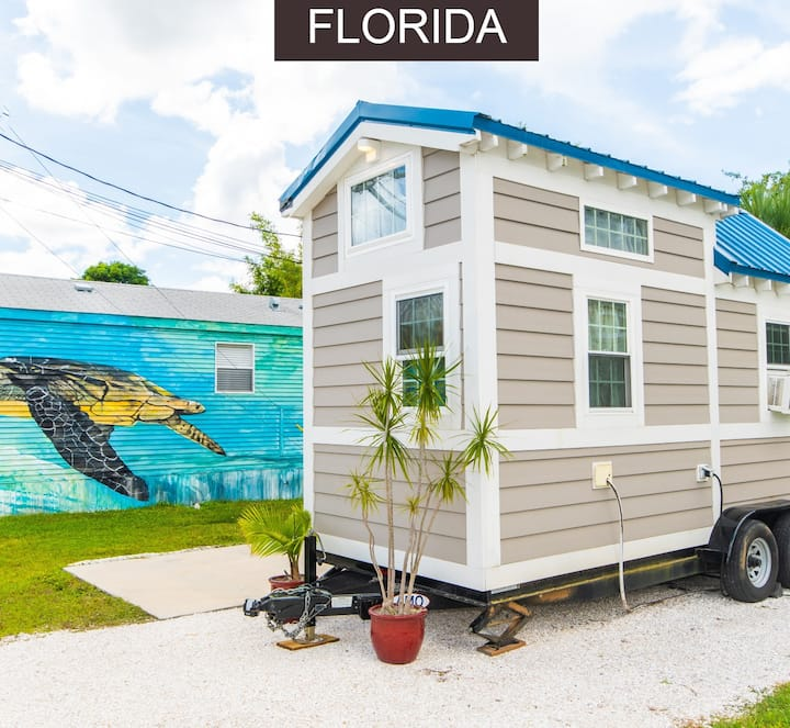 Tiny House Sea Shell perfectly sleeps 2 and offers cozy beach accommodations