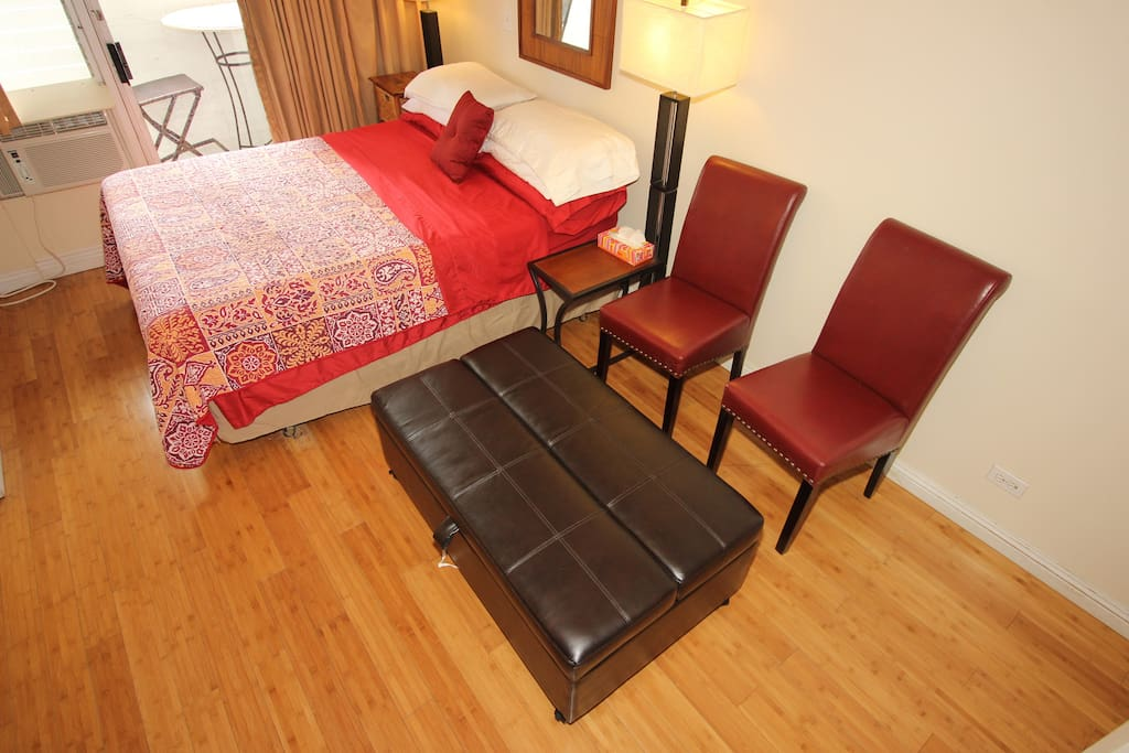 Queen bed, chairs and Ottoman-twin bed