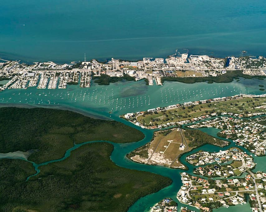 Aerial view of Boot Key Harbor.