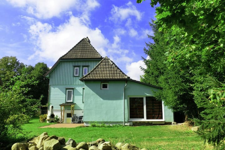 Luxury holiday home in Harz region in Elend health resort with private indoor pool and sauna