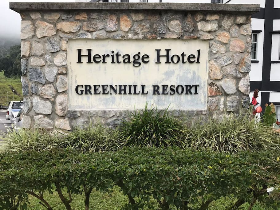 Heritage Greenhill Resort signboard at entrance
