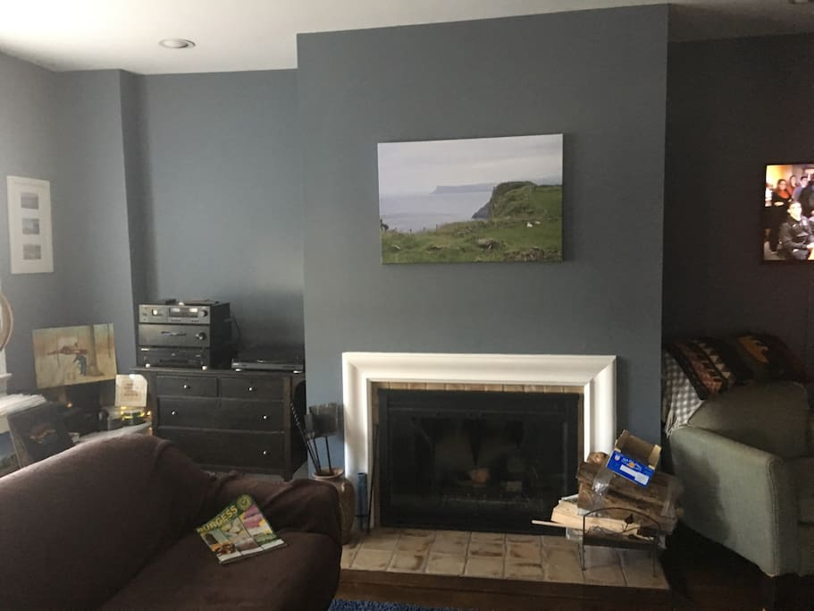 Living room with working fireplace