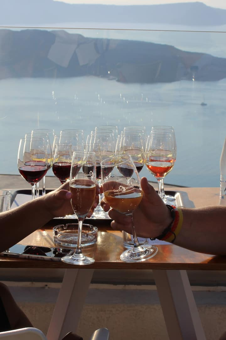 Wine tasting with sunset view