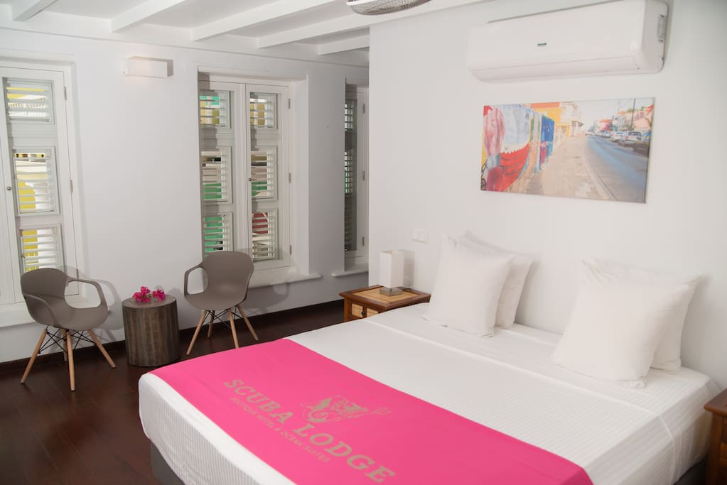 Modern room in a historic Curaçao building.