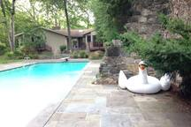 main house and pool view