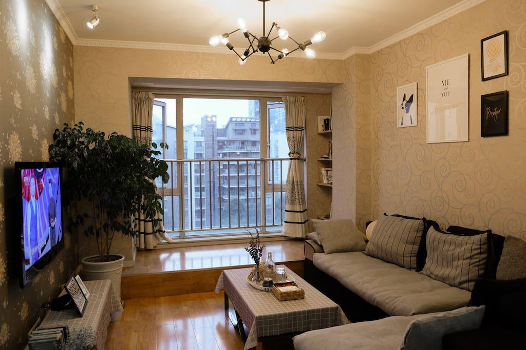 房间和客厅都面向小区中庭,楼下就有美食街,但是白天繁华,夜晚宁静