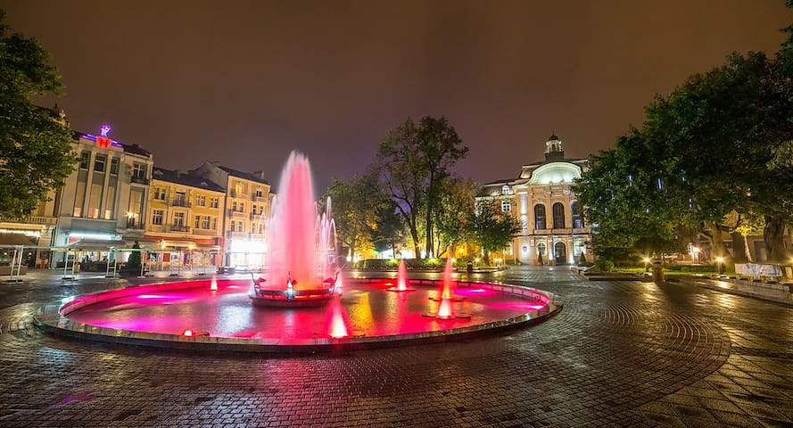 "Main city square, located on the longest pedestrian street in Bulgaria a.k.a ""Glavnata""."