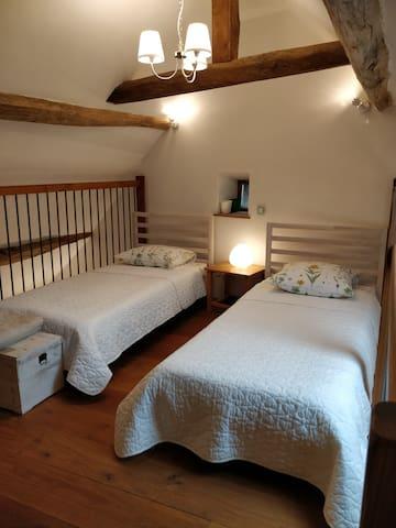 2 single beds on the mezzanine