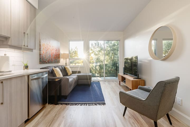 Bright 2 BR Downtown Modern Condo w/ King Bed! Parking!