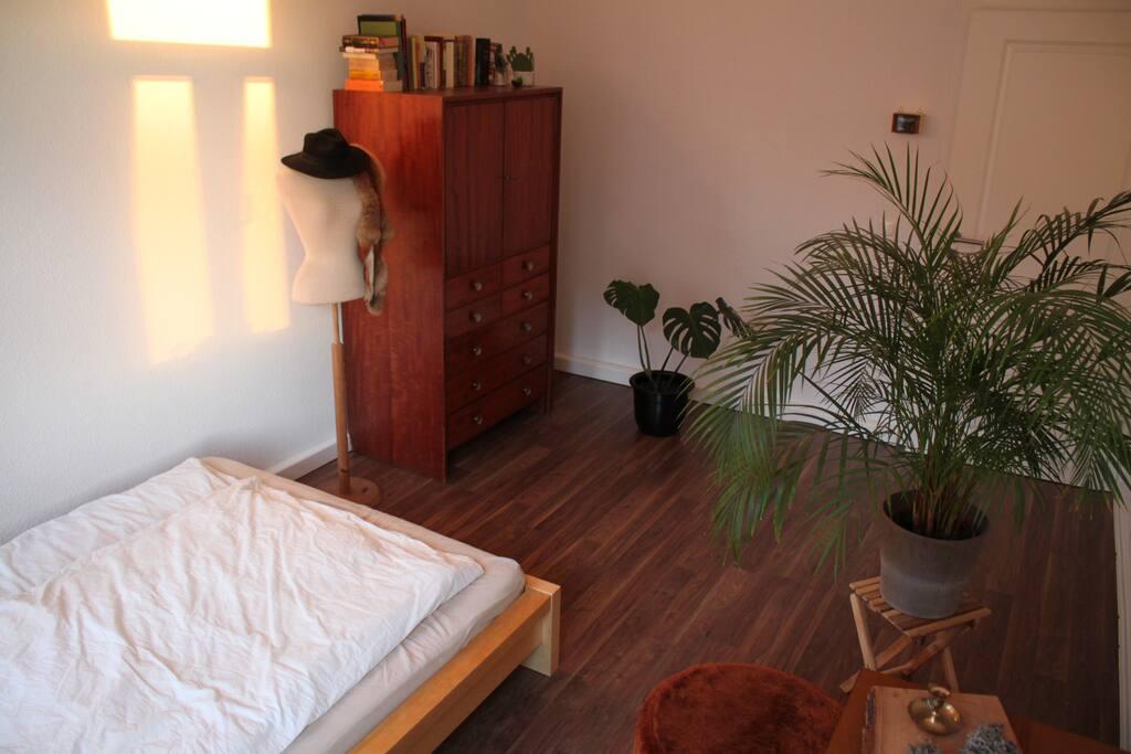 Die Palme steht jetzt im Schlafzimmer, dafuer sind neue Pflanzen hinzugekommen sowie ein grosser, gemuetlicher Teppich und ein Schraenkchen mit Plattenspieler und kleiner Stereo-Anlage.