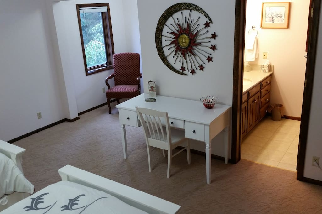 Reading area, desk, and private bathroom (shower only).