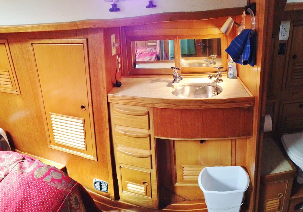 Wash basin on the port side of aft cabin.