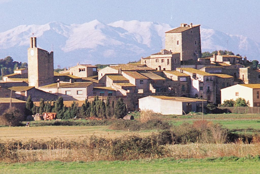 The village with Pyrenees in the backround