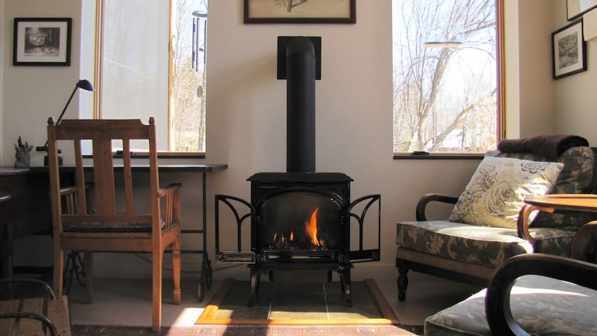 Propane Fireplace & east facing work space