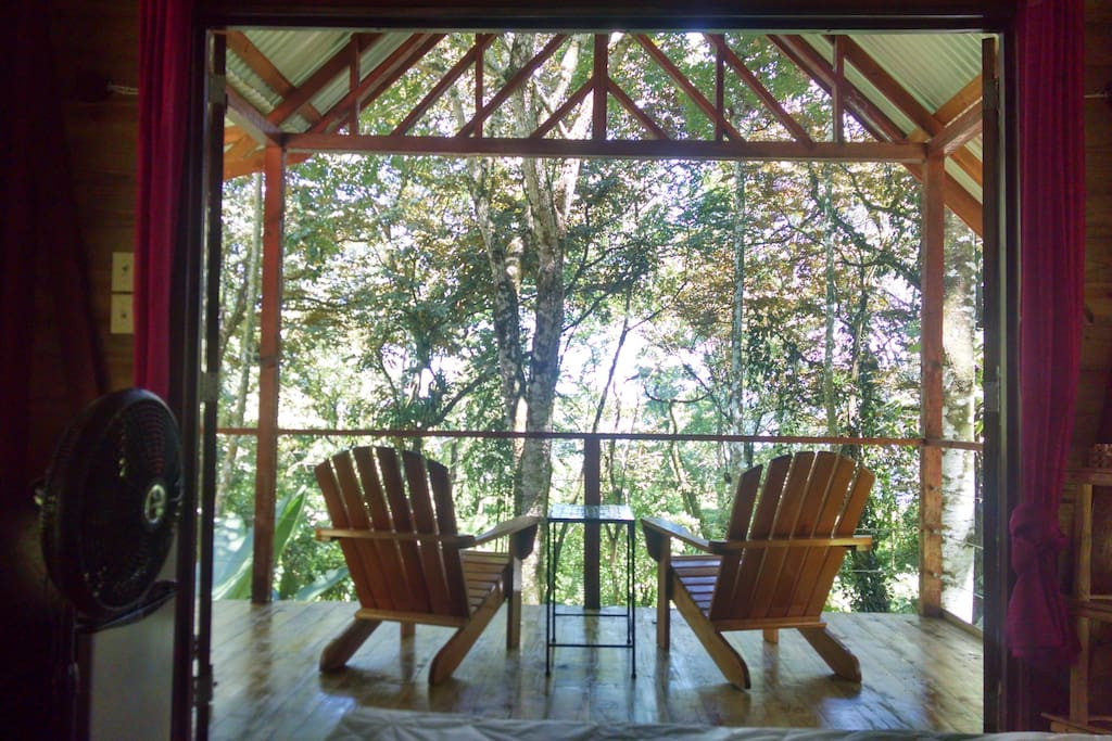 Tree house view from your private deck...or even from bed!