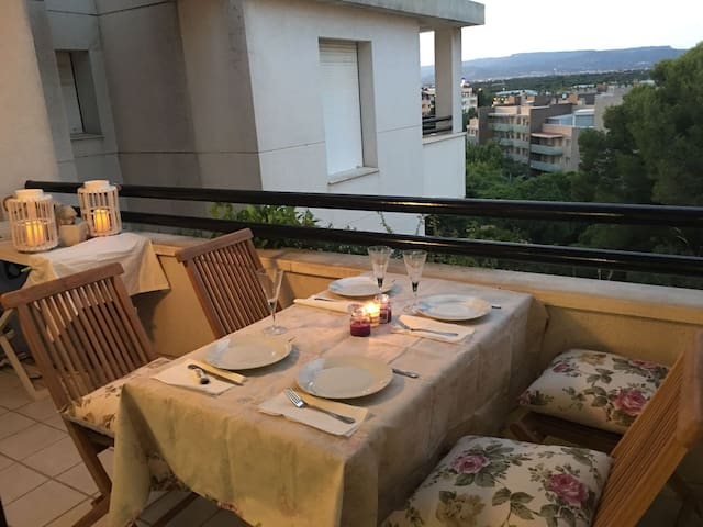 ...y cena en la terraza...