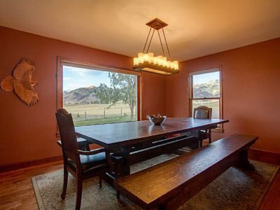 Our beautiful dining room with custom Montana made dining table that seats 14.