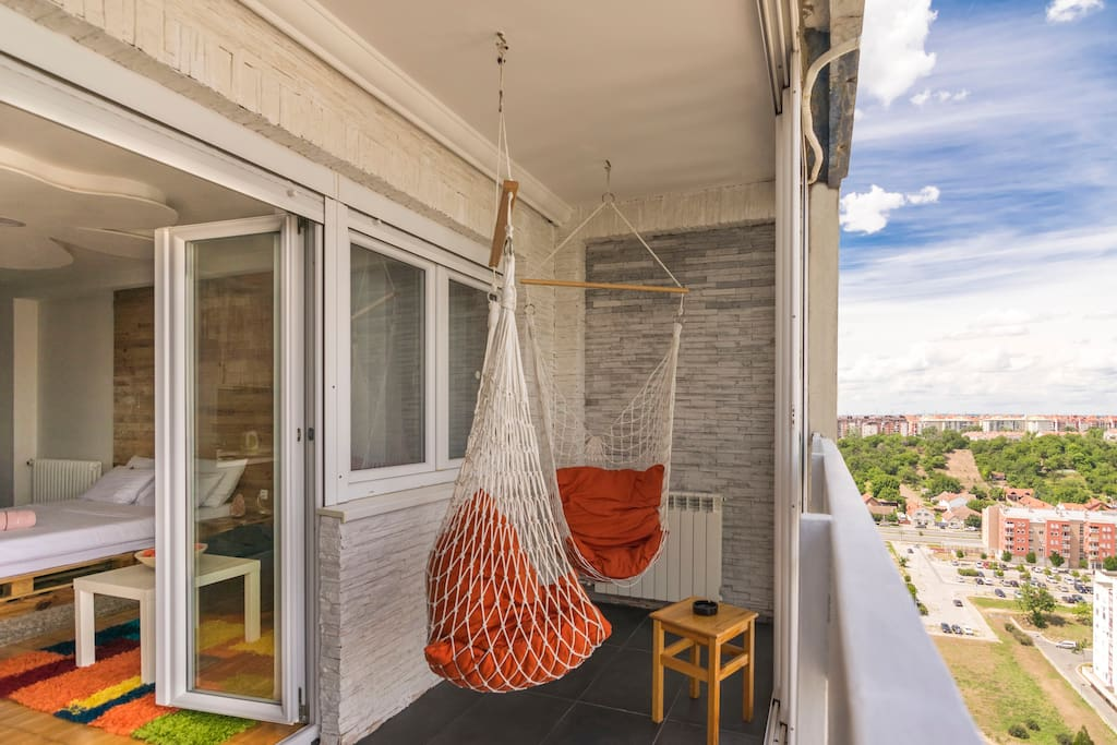 Hammock on the balcony with beautiful view