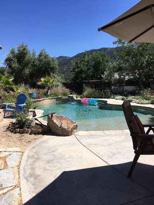 Our pool and backyard are so beautiful! With the amazing view of the Cleveland National Forest and the refreshing salt water pool, you will find a great time! Our private salt water pool  available for your use in a beautiful  setting. Use pool from 10am to 8pm. Solar heated and delightful.