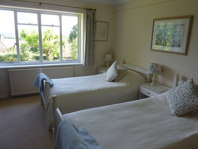 TWIN Bedroom in Family Home, view of South Downs