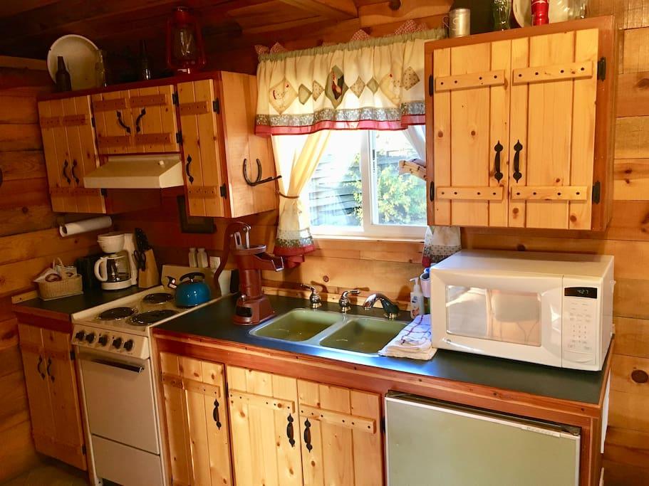 Microwave, coffee pot, tea kettle