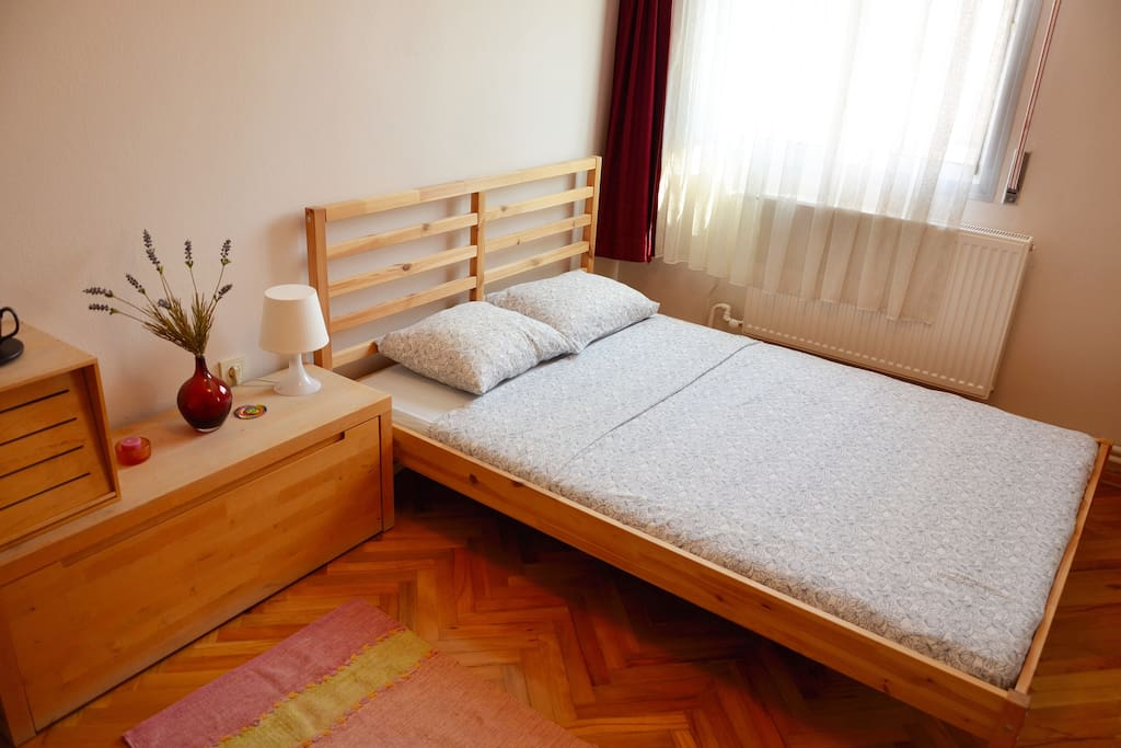 This is the guest room, you will sleep here:) Comfortable double bed and pillows