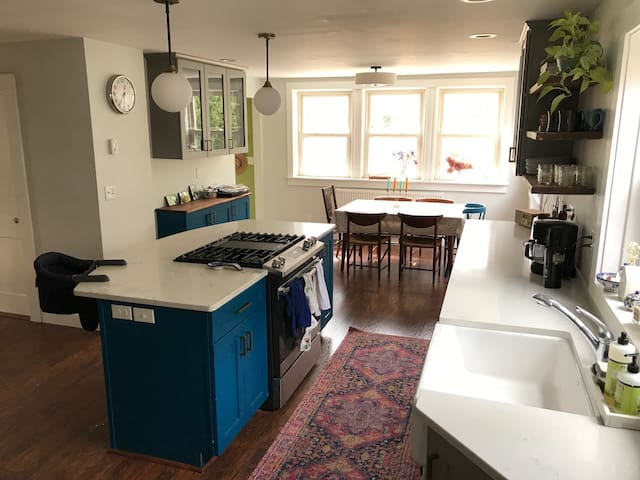 Kitchen with large island. Farmhouse sink!