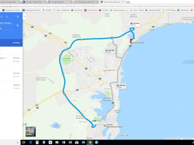 Route from the airport using main highway A3