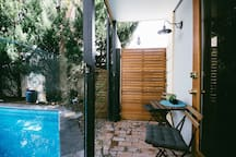 Outdoor dining options by the pool