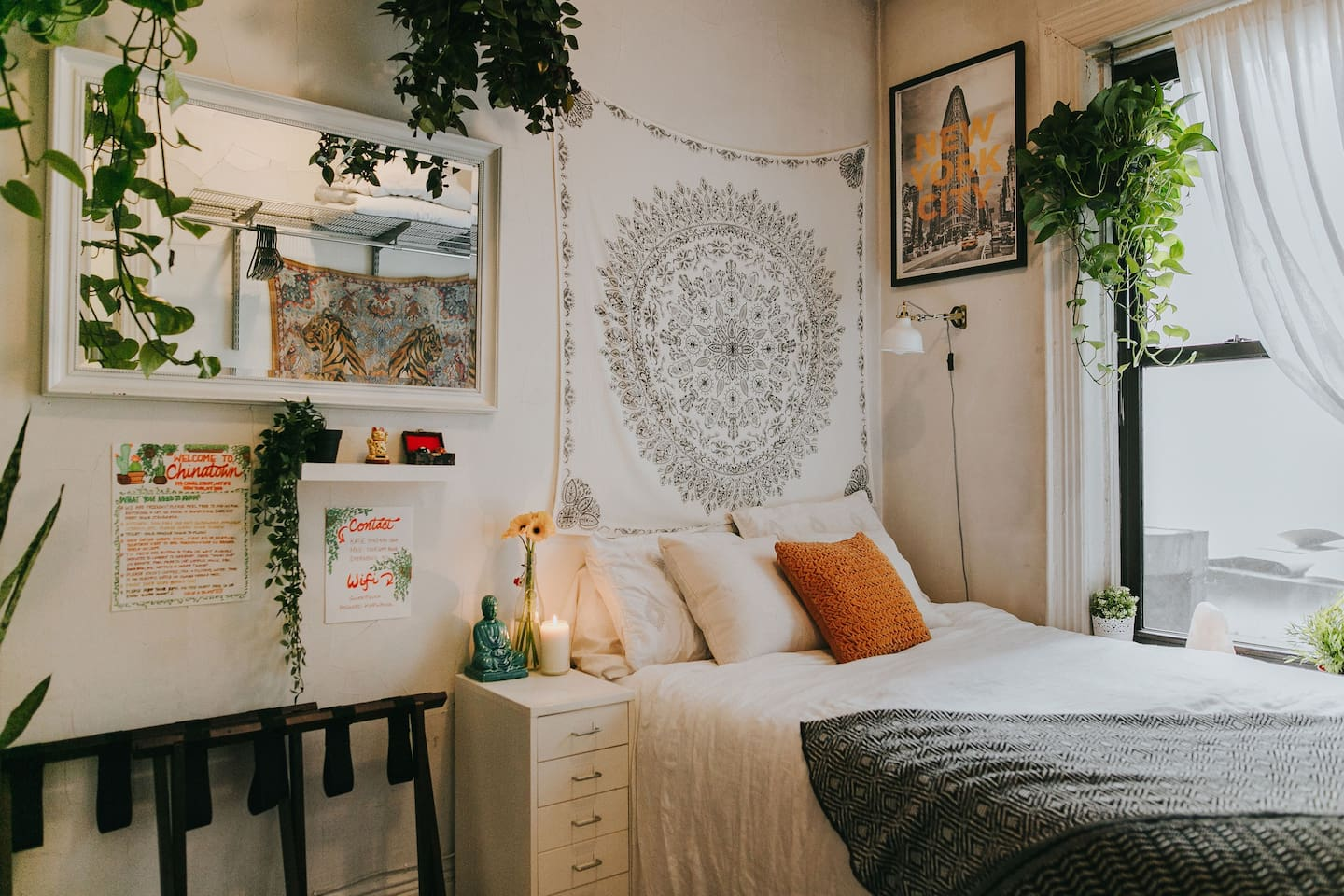 Your room! Our personal tapestries and plants plucked from our favorite local chinatown garden shops.