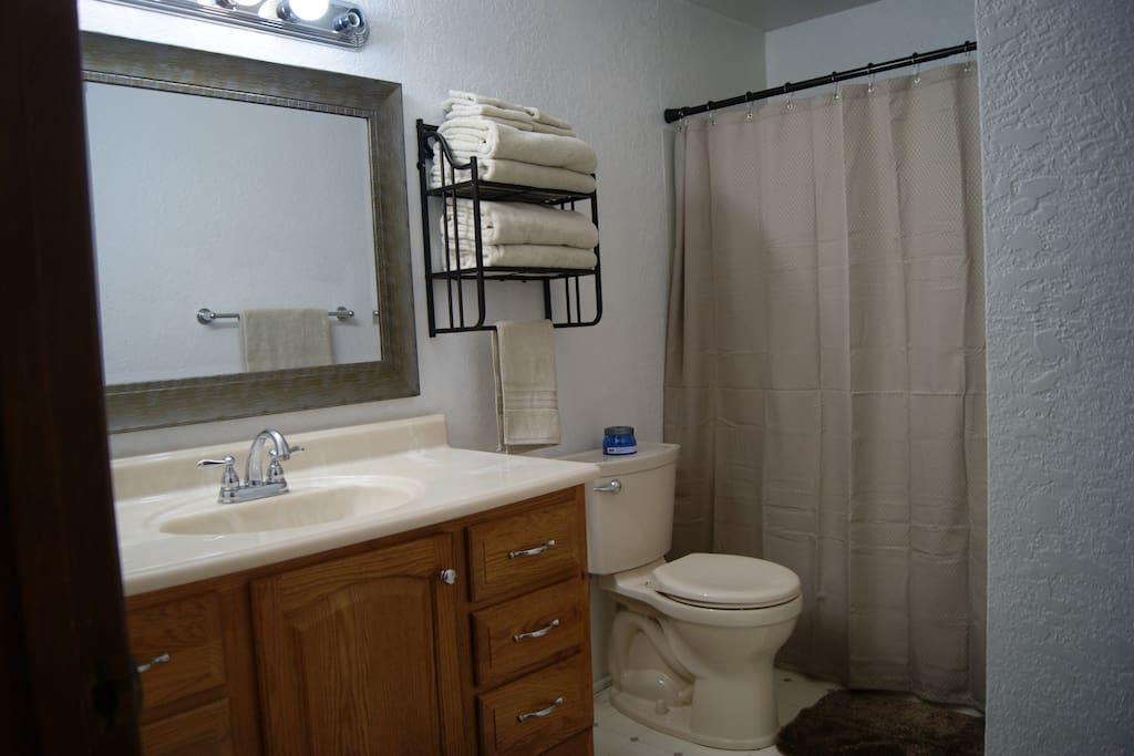 Main bath - fresh new towels