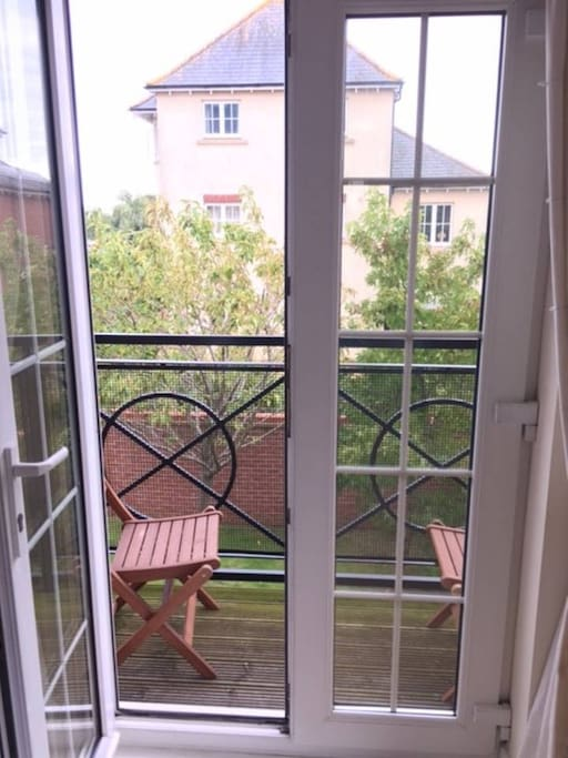 Private balcony overlooking private gardens
