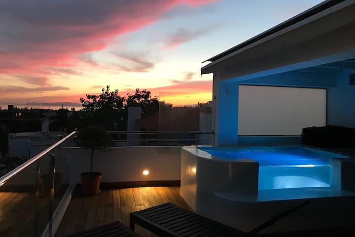 Glyfada Luxury Seaview penthouse with jacuzzi