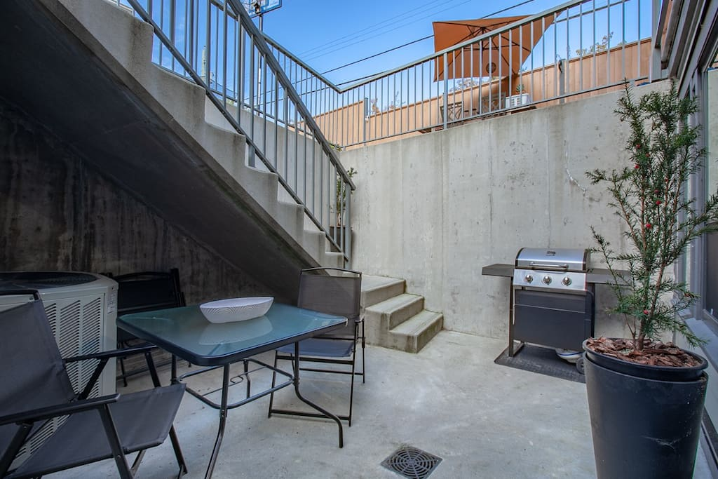 Sit outside and enjoy the private patio complete outdoor furniture and a bbq