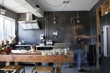 Industrial Kitchen with Range Cooker, Microwave, American Fridge Freezer, Toaster and Expresso Machine